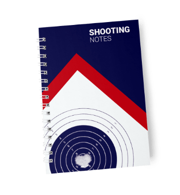 Cover of Shooting Notes shooting diary in dark blue