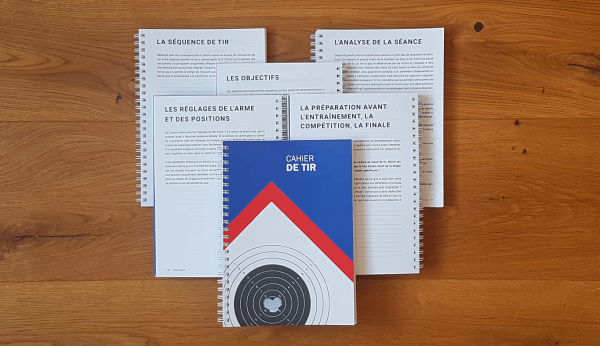 Cover of the French notebook Cahier de Tir and chapters inside the notebook