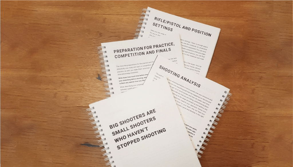 Four Shooting notes showing different chapters of the notebook