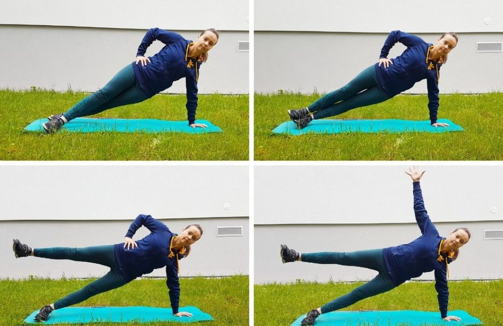 A girl doing four versions of side plank