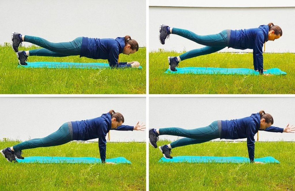 A girl doing four various types of plank lifting her arms and legs