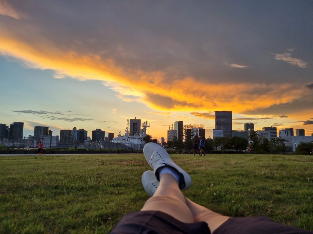 Relaxing on the grass looking at beautiful orange skies