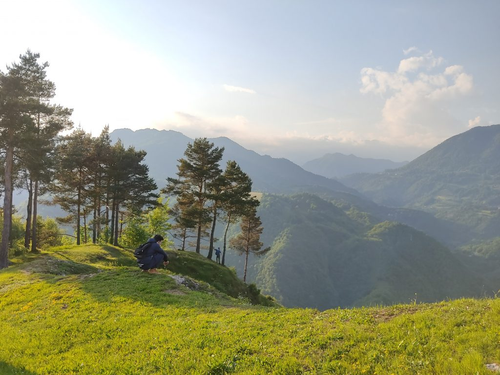 Stunnin evening view from the Šebrelje Plateau, Slovenia.